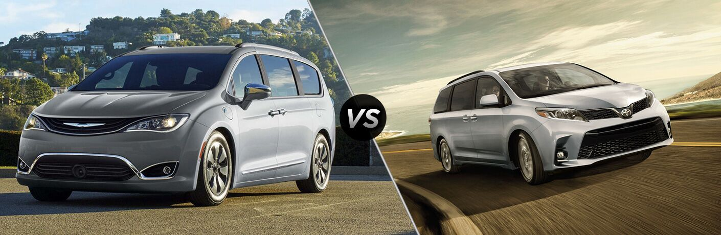 "Driver side exterior view of a gray 2018 Chrysler Pacifica on the left ""vs"" Passenger side exterior view of a gray 2018 Toyota Sienna on the left"