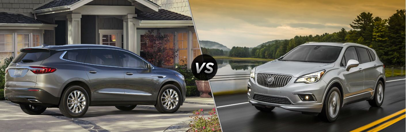"Passenger side exterior view of a gray 2018 Buick Enclave on the left ""vs"" driver side exterior view of a gray 2018 Buick Envision on the right"