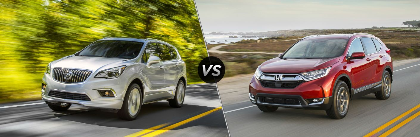 "Driver side exterior view of a gray 2018 Buick Envision on the left ""vs"" a driver side exterior view of a red 2018 Honda CR-V on the right"