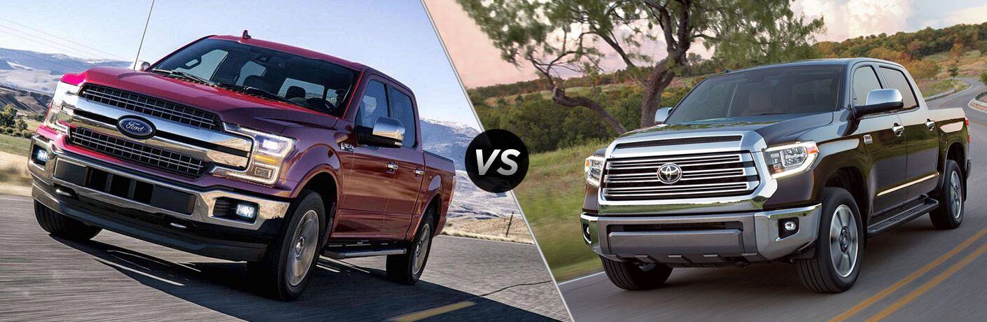 "Front exterior view of a red 2018 Ford F-150 on the left ""vs"" front exterior view of a black 2018 Toyota Tundra on the right"