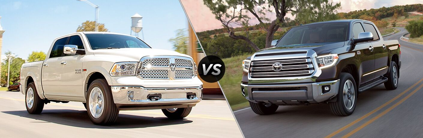 "Passenger side exterior view of a white 2018 Ram 1500 on the left ""vs"" driver side exterior view of a black 2018 Toyota Tundra on the right"