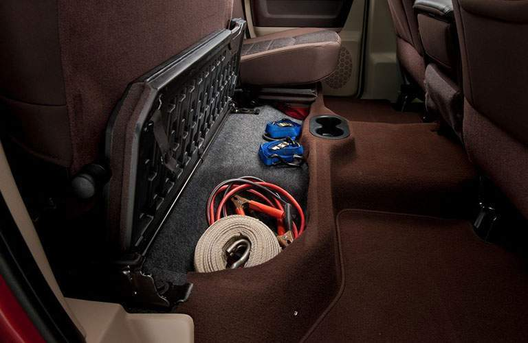 Under rear seat cargo storage of the 2018 Ram 2500