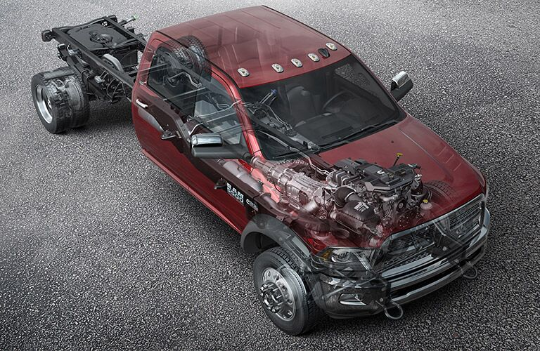 Overhead cutaway view of the 2018 Ram 5500 Chassis' drivetrain