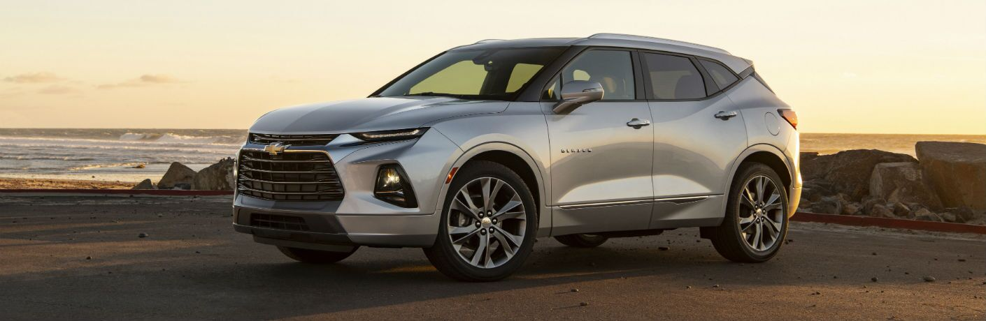 Driver side exterior view of a gray 2019 Chevy Blazer