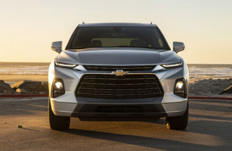 Front exterior view of a gray 2019 Chevy Blazer
