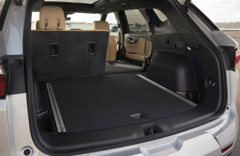 Rear seat in the 2019 Chevy Blazer split-folded for cargo and passenger convenience