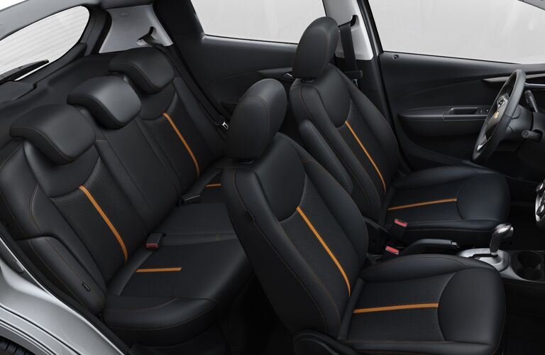 Overhead side view of the two rows of seating in the 2019 Chevy Spark