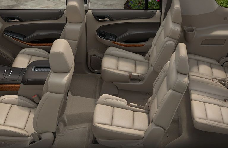 Overhead side view of the three rows of seating in the 2019 Chevy Suburban