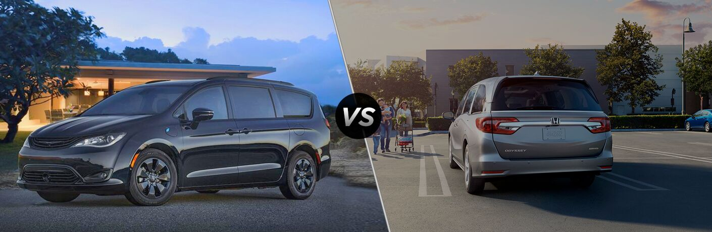 "Driver side exterior view of a black 2019 Chrysler Pacifica on the left ""vs"" rear exterior view of a gray 2019 Honda Odyssey on the right"