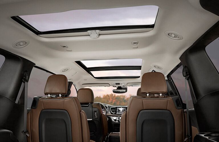 Looking at the front two rows of seating in the 2019 Chrysler Pacifica from the third row seat