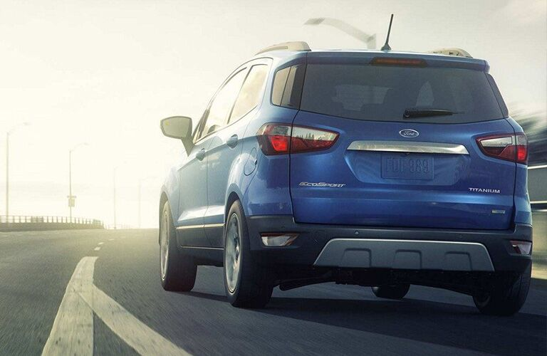 2019 Ford EcoSport exterior rear view as it drives on highway