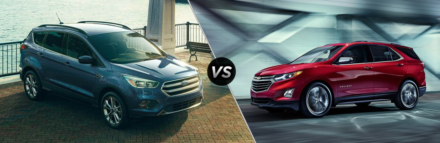 "Front passenger side exterior view of a blue 2019 Ford Escape on the left ""vs"" driver side exterior view of a red 2019 Chevy Equinox on the right"
