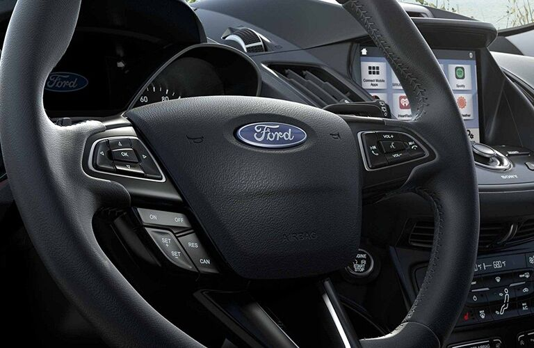Steering wheel mounted controls of the 2019 Ford Escape