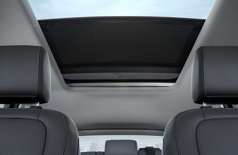 Interior view of the panoramic sunroof of a 2019 Ford Escape