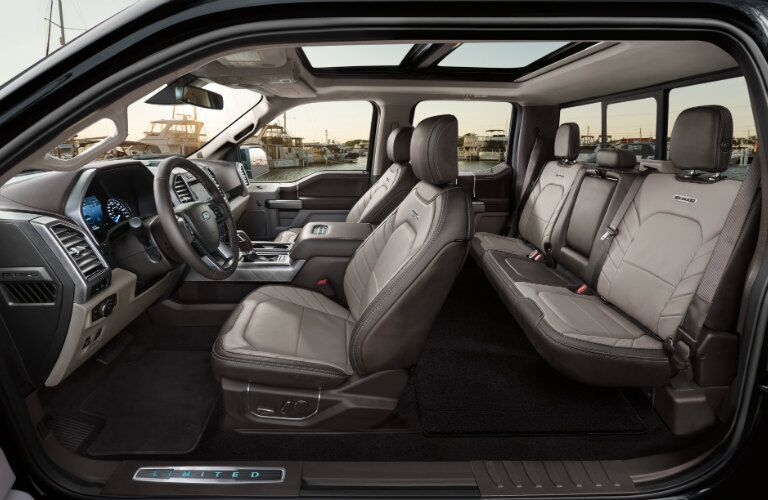 Side view of the two rows of interior seating in the 2019 Ford F-150