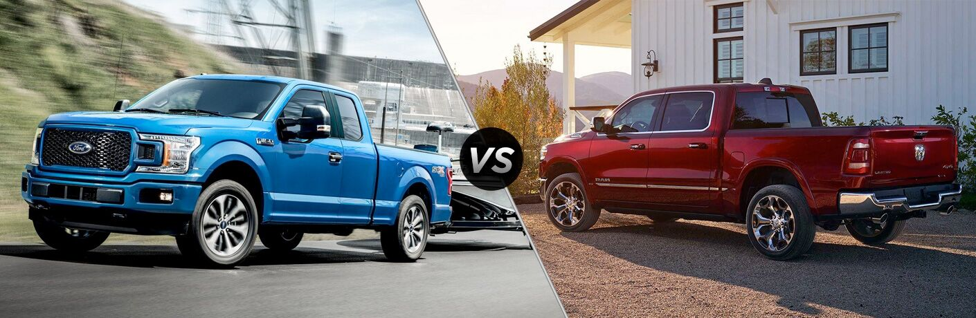 "Front driver side exterior view of a blue 2019 Ford F-150 on the left ""vs"" rear driver side exterior view of a red 2019 Ram 1500 on the right"