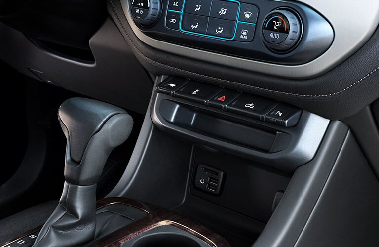 Shift lever and temperature controls of the 2019 GMC Canyon