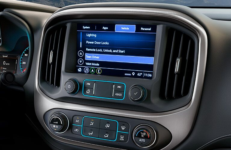 Touchscreen display of the 2019 GMC Canyon
