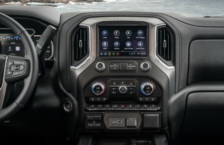 Touchscreen display and temperature controls of the 2019 GMC Sierra 1500