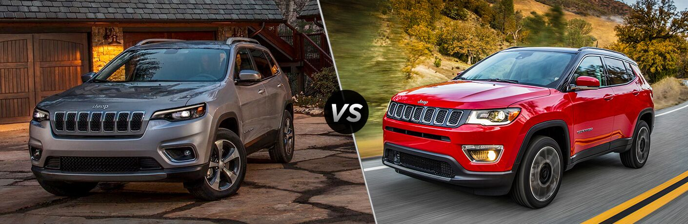 "Front driver side exterior view of a gray 2019 Jeep Cherokee on the left ""vs"" front driver side exterior view of a red 2019 Jeep Compass on the right"