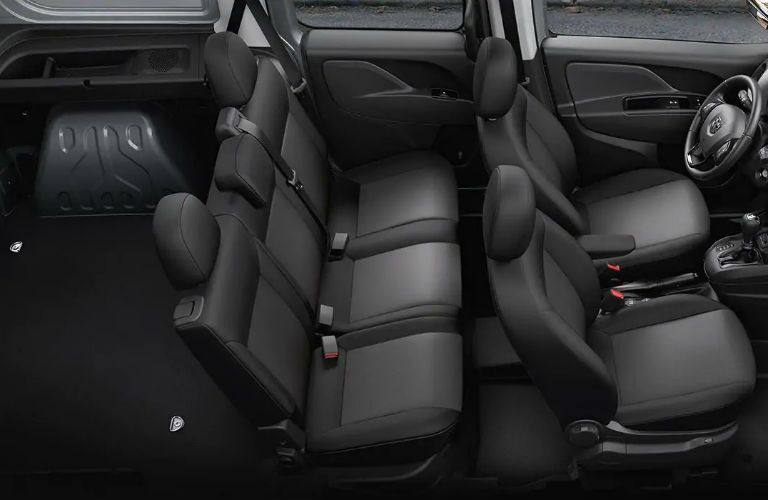 Overhead view of the two rows of seating and rear cargo area of the 2019 Ram ProMaster City Wagon