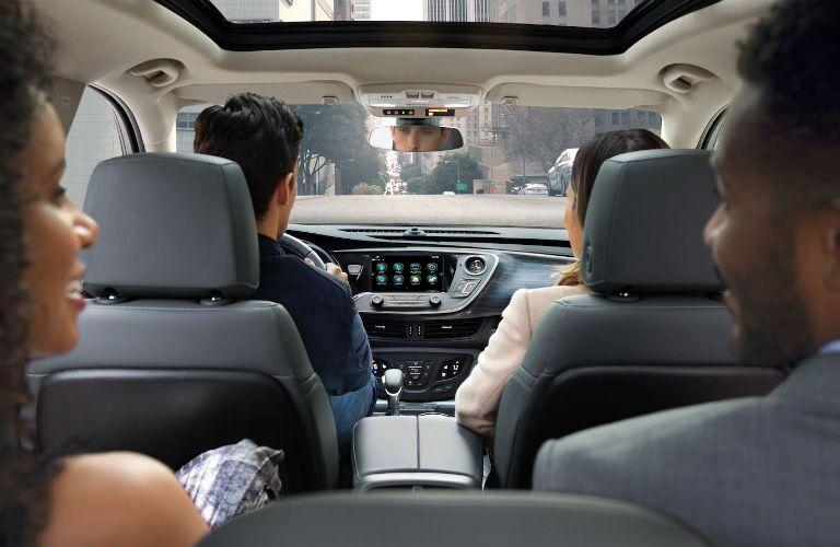 Looking into the front row seat of the 2019 Buick Envision from the second-row seat
