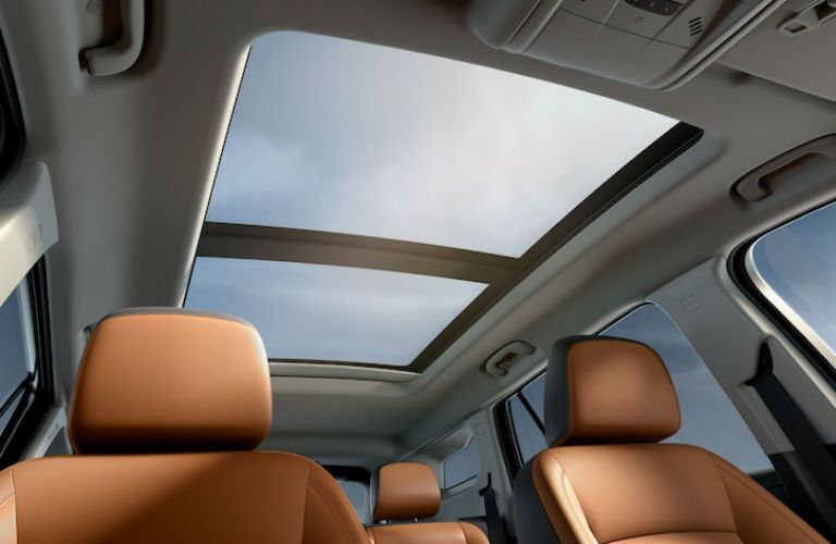 Looking out the available moon roof of the 2019 GMC Terrain