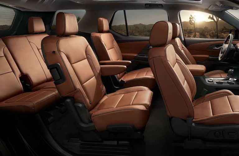 Side view of the three rows of seats in the 2019 Chevy Traverse