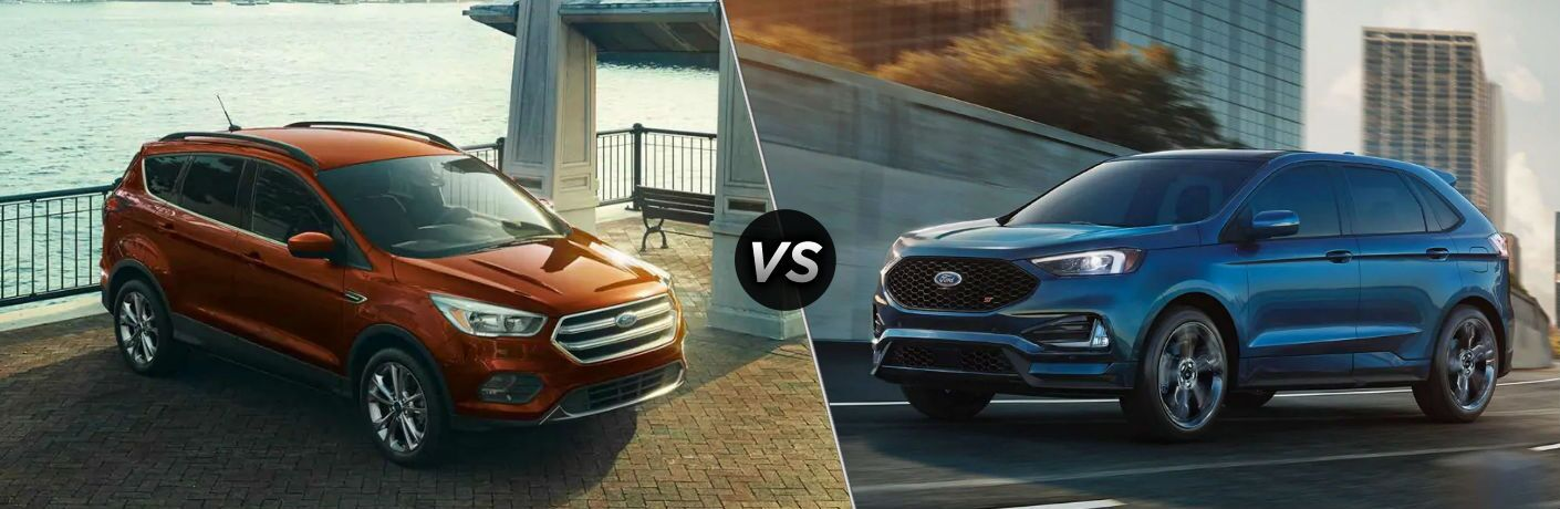 "Front passenger side exterior view of a red 2019 Ford Escape on the left ""vs"" front river side exterior view of a blue 2019 Ford Edge on the right"