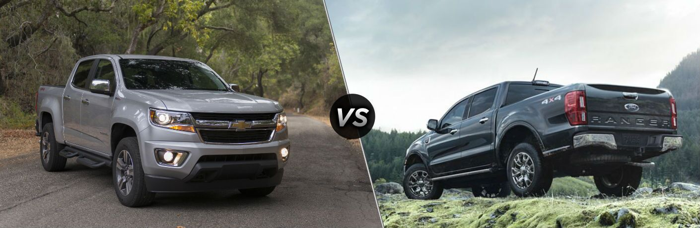 "2019 Chevy Colorado and 2019 Ford Ranger exterior views, separated by a diagonal line and ""VS"" icon."