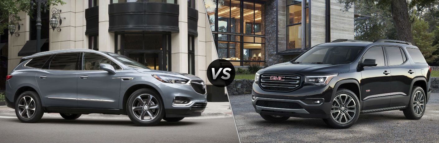"Passenger side exterior view of a gray 2019 Buick Enclave on the left ""vs"" driver side exterior view of a black 2019 GMC Acadia on the right"