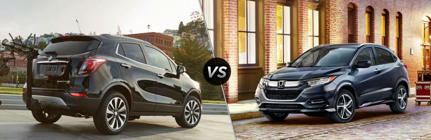 "Passenger side exterior view of a black 2019 Buick Encore on the left ""vs"" front driver side exterior view of a black 2019 Honda HR-V on the left"