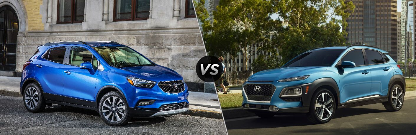 "Passenger side exterior view of a blue 2019 Buick Encore on the left ""vs"" driver side exterior view of a blue 2019 Hyundai Kona on the right"