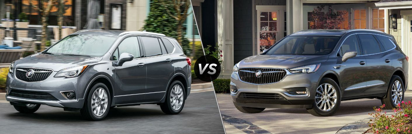 "Driver side exterior view of a gray 2019 Buick Envision on the left ""vs"" driver side exterior view of a gray 2019 Buick Enclave on the right"