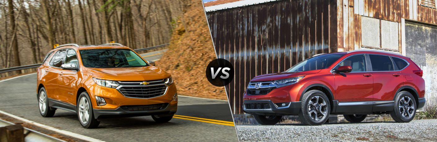 "Front passenger side exterior view of an orange 2019 Chevy Equinox on the right ""vs"" driver side exterior view of a red 2019 Honda CR-V on the left"