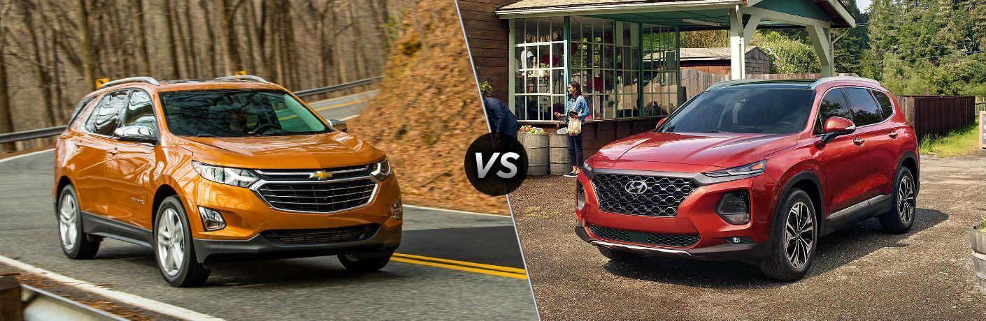 "Front exterior view of an orange 2019 Chevy Equinox on the left ""vs"" front exterior view of an orange 2019 Hyundai Santa Fe on the right"