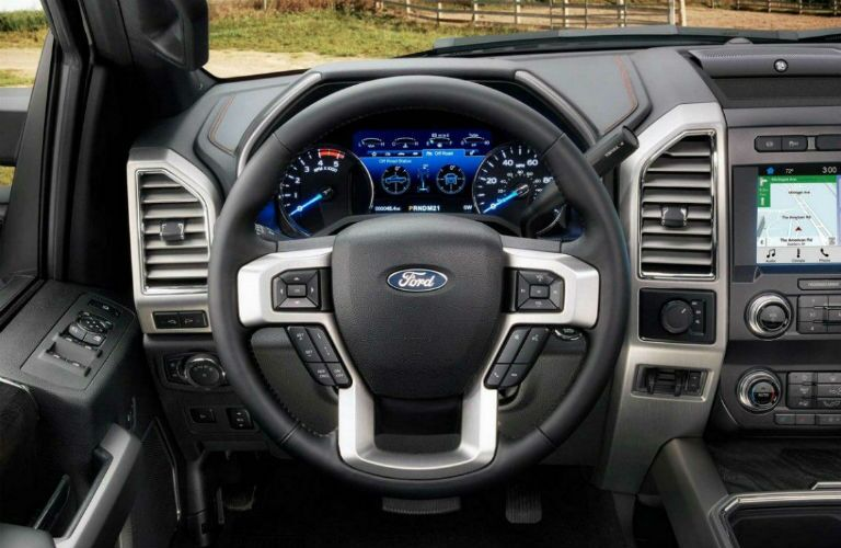 Steering wheel mounted controls of the 2019 Ford F-350