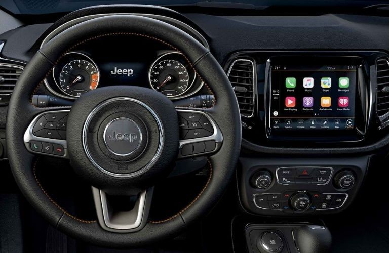2019 Jeep Compass steering wheel and Apple CarPlay screen