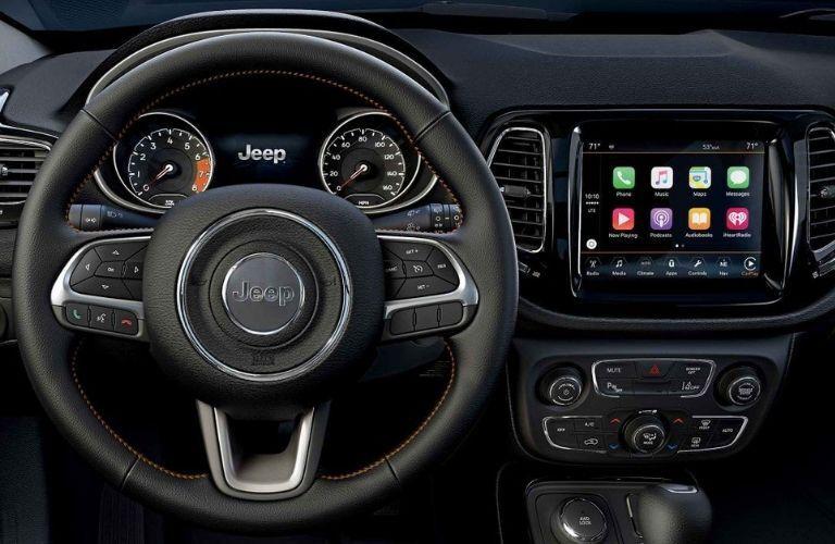 2019 Jeep Compass steering wheel and Apple CarPlay screen