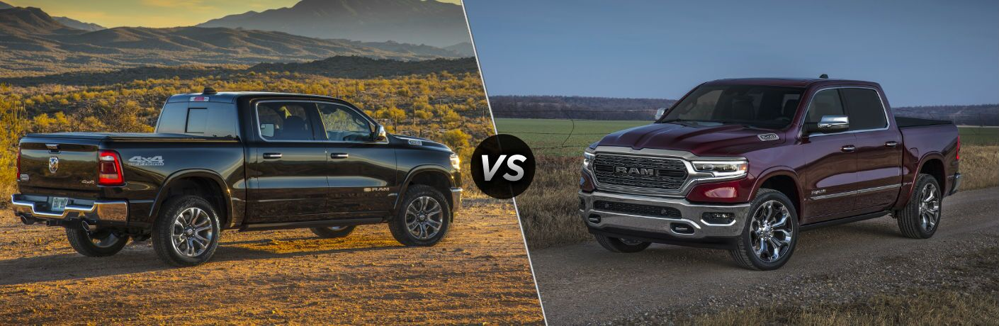 "Passenger side exterior view of a black 2019 Ram 1500 Laramie Longhorn on the left""vs"" front driver side exterior view of a red 2019 Ram 1500 Limited on the right"