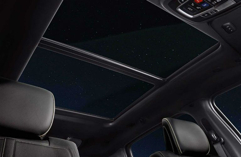Looking out the available moon roof of the 2019 Ram 1500