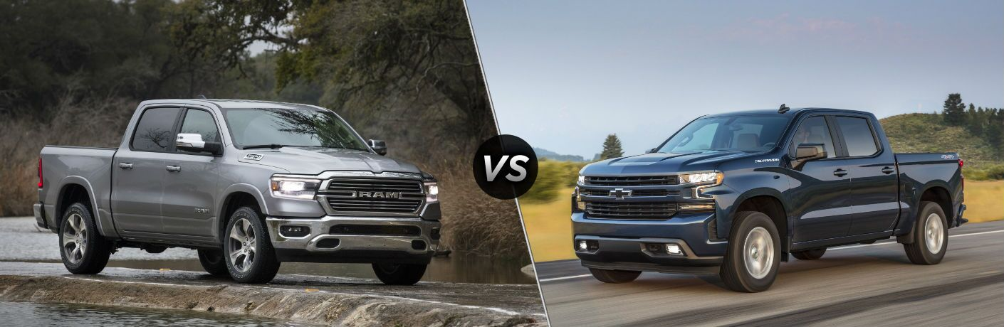 "Passenger side exterior view of a gray 2019 Ram 1500 on the left ""vs"" driver side exterior view of a blue 2019 Chevy Silverado on the right"