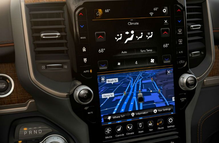 "Available 12"" color touchscreen of the 2019 Ram 1500"
