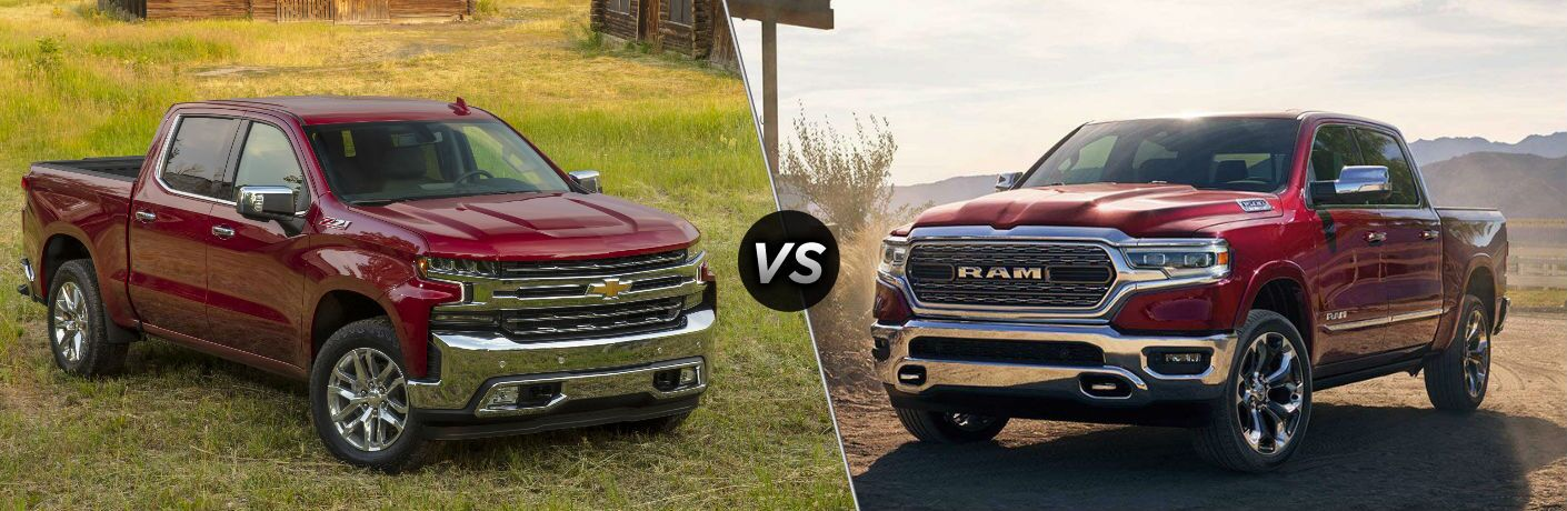 "Passenger side exterior view of a red 2019 Chevy Silverado 1500 on the left ""vs"" driver side exterior view of a red 2019 Ram 1500 on the right"