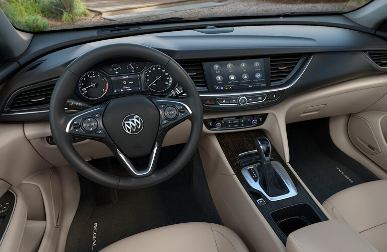 2020 Buick Regal Sportback interior steering wheel and dashboard