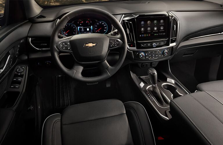 Dark grey dashboard and front seats in 2020 Chevrolet Traverse