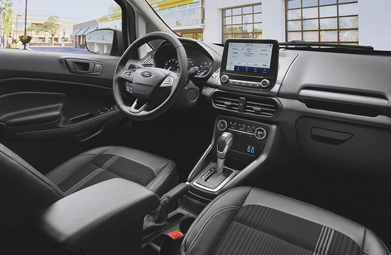 Grey dashboard and front seats in 2020 Ford EcoSport