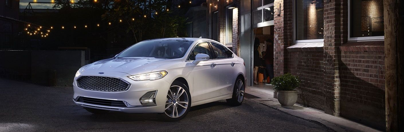 2020 Ford Fusion parked outside at night