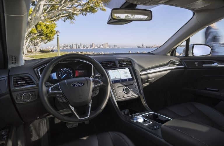 2020 Ford Fusion interior steering wheel and dashboard