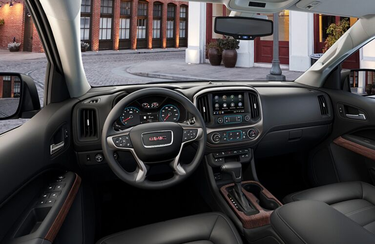 Grey dashboard and front seats in 2020 GMC Canyon